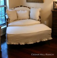 Slipcover for French Settee: A detailed tutorial on how to sew a lovely slipcover for your antique settee.