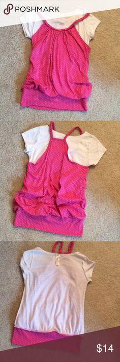 Kiddo sz 10 layered tank and T-shirt Pink polka dot Kiddo Shirts & Tops Tees - Short Sleeve