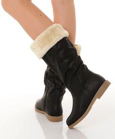 bottes fourrées pour femme noir tulipe fashion   Choix et qualité pour  bottes fourrées pour femme ca414dfa700