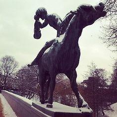 Violinist on horse. Sculpture in the Norwegian snow. #violin #violinist #snow  #snowy  #horse #sculpture #street #streetart #oslo #norway #winter #tree #sky #bridge #imposing #music #play #history #historical