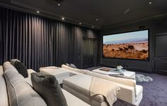 The estate features a home theater.