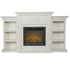 built-in shelves around fireplace.
