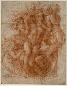 Michelangelo, Pietà, um 1530 © Albertina, Wien  #Michelangelo #Renaissance #Drawing #GraphicArt #GraphicCollection #Masterpiece