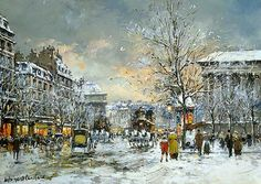 Omnibus at the Place de la Madeleine Winter Painting by Antoine Blanchard | Oil Painting