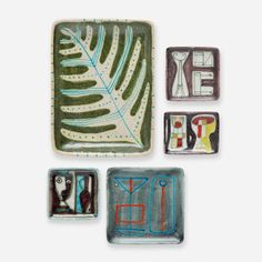 Guido Gambone collection of five trays Italy, c. 1955 glazed stoneware 11 w x 8.25 d x 1.5 h inches Glazed signature and donkey mark to unde...