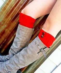 Brick Red Short CableKnit Boot Cuffs with Vintage by ThreeBirdNest, $19.00