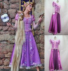 Beautiful Rapunzel Costume Princess Dress Custom-made For Kids And Adult Cosplay Costume Holloween Costume