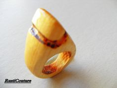 HandCarved Avant garde Pine Wood Ring Pyramid by rusticouture