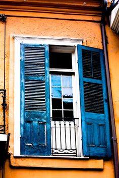 Blue shutters, French Quarter. Photo Rebecca Plotnick via Etsy.