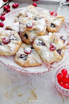 poppy seed and cherry jam puff pastry envelopes