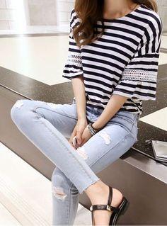 Drop-Shoulder Striped T-Shirt