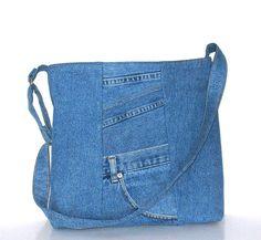 Recycled jeans tote pursecross body bag school от Sisoibags