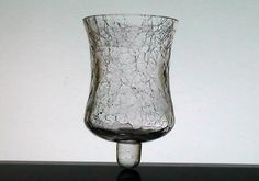 Peg Votive Candle Holder Partylite Crackle Glass 4 inch x 2.625 Brand: Partylite Height: 4 inches (including stem) Width: 2 5/8 inches across the top rim Highly detailed crackle design throughout Material: heavy glass  Sample Photo No: 35