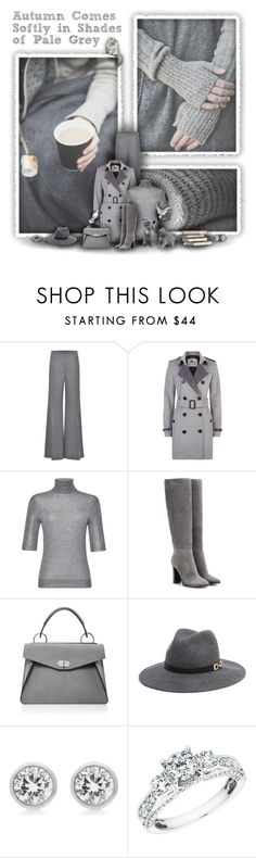 """Autumn Greys"" by rachelegance ❤ liked on Polyvore featuring Blumarine, Burberry, Jimmy Choo, Proenza Schouler, Bebe, Michael Kors, Reeds Jewelers and Boots"
