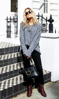Lace-up sweater + cropped flares