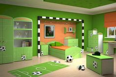 Love the black and white around the frame. Would be cool to put on jacob's dormer cove frame. Bright Kids Room Design with Soccer Themed Soccer Bedroom, Football Bedroom, Teen Bedroom Designs, Bedroom Themes, Bedroom Ideas, Bedroom Decor, Bedroom Furniture, Football Rooms, Kids Football