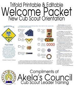 Akela's Council Cub Scout Leader Training: New Cub Scout Parent Pamphlet ~ editable pdf ~ Welcome packet for New Cub Scout Orientation