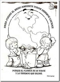 medio ambiente 1 Earth Day Activities, Preschool Activities, Coloring Books, Coloring Pages, Eco Kids, School Frame, Printable Coloring Sheets, World Days, Human Drawing