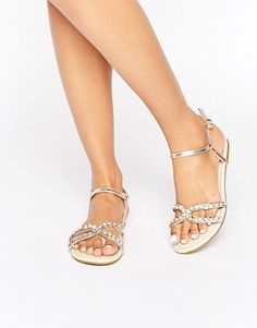 Buy ASOS FARRAH Embellished Flat Sandals at ASOS. With free delivery and return options (Ts&Cs apply), online shopping has never been so easy. Get the latest trends with ASOS now. Flat Sandals, Gladiator Sandals, Flats, Asos, Wedding Shoes, Wedding Dresses, Fashion Online, Marie, Latest Trends