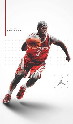 Chris Paul of Houston Rockets Jordan Poster, Chris Paul, Sports Graphics, Kyrie Irving, Houston Rockets, I Wallpaper, Nfl Football, Workout Programs, Gym Men