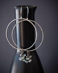 Aquamarine Pyrite Gemstone Hoop Earrings Modern Rustic Bohemian.