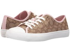 COACH Signature Logo Empire Sport Nappa Tennis Shoe Sneaker Petal/Khaki 7.5 NEW #Coach #Fashion