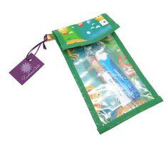 Porta escova e pasta de dentes - peixinhos verde e amarelo