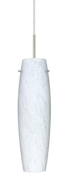 Besa Lighting 1BT-412119 Tutu 1 Light Cord-Hung Pendant with Carrera Glass Shade Satin Nickel Indoor Lighting Pendants