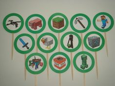 Handmade Minecraft Birthday Party Supplies Cupcake Toppers Food Picks Set of 12 | eBay