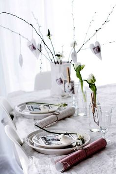 Decoración de la mesa para la cena de San Valentín