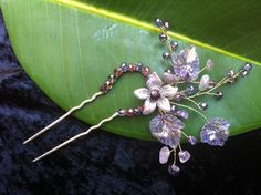Wire wrap jewelry Hair Pin  amethyst natural by beadsforartist, $19.99