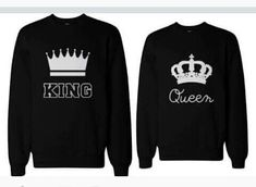Cheap couple sweatshirt, Buy Quality polerones mujer directly from China sweatshirt long Suppliers: CWLSP Casual Couples Sweatshirt KING Queen Sweatshirts Long Sleeve Unisex Lovers Pullover Hoodie Poleron Mujer Shirts Matching Couple Outfits, Matching Couples, Matching Clothes, Couple Shirts, Pulls, Black Hoodie, Men Casual, Sweatshirts, King Queen