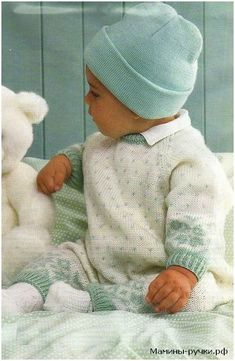 Knitting rompers with jacquard pattern and raglan sleeves. Diagrams and description - Mother's pen