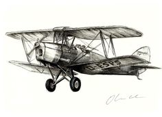 Tiger Moth by Oliver Cook - Drawing All Drawing ( flight, flying, aviation, old, plane, vintage, biplane, aeroplane, airplane, aircraft )