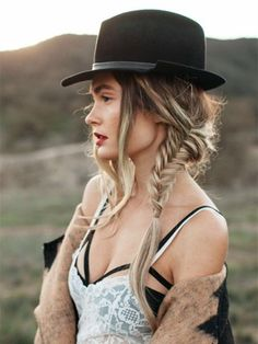 side braid with hat cool boho hairstyle 2015 summer