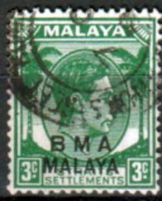 British Military Administration of Straits Settlements    1945 Yellow Green Fine Used                    SG 4 Scott 258    Other Asian and British Commonwealth Stamps HERE!