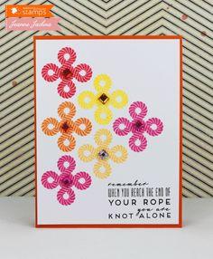 "Knot Alone Knot Alone 4.25 x 5.5"" Stamps: Waltzingmouse Tying The Knot Card Stock: PTI Orange Zest, White Gems Ink: Memento Lady Bug, Tangelo, Rose Bud, Cantaloupe, Dandelion, Versafine Onyx Black   Read more: http://www.splitcoaststampers.com/gallery/photo/2409340#ixzz2bfPlRxCU"