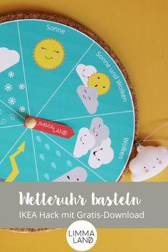 Wir haben mal wieder einen schönen IKEA Hack für euch! Diese Wetteruhr  basteln wir einfach mit unserer kostenlosen Bastelvorlage und einem  Korkuntersetzer HEAT von IKEA. Auch eine gute Idee für deas Spiel im  Kindergarten. www.limmaland.com/blog #limmaland #ikeakorkuntersetzter  #ikeahack #wetteruht #wetteruhrbasteln #wetterlernen #lernmaterialkinder  #lernmaterialkindergarten Gratis Download, Baby Kind, Ikea Hack, Blog, Hacks, Chart, Map, Projects, Kids