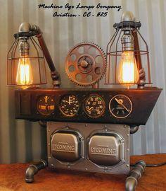 Steampunk Machine Age Aviation Instrument Control Panel Lamp & Gears Air Plane #CC25 - SOLD