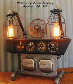 Steampunk Machine Age Aviation Instrument Control Panel Lamp & Gears Air Plane #CC25 - SOLD