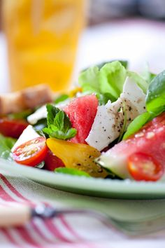 Sara Foster's Watermelon-Tomato Salad with Shaved Feta and Handfuls of Mint and Basil