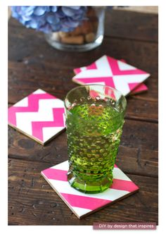 so the other day i was thinking that I would like a set of chevron coasters for my pink living room and violia-someone else stole my idea:)