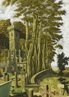 'The Marian Tower' by Simon Palmer (watercolour, ink and gouache) Watercolor Landscape, Landscape Art, Landscape Paintings, Contemporary Landscape, Contemporary Artists, Art Is Dead, Street Art, Naive Art, Modern Landscaping