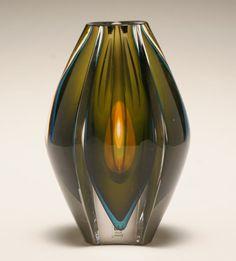 Ventana Swedish art glass vase by Mona Morales-Schildt for Kosta.