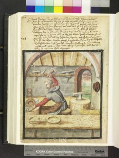 """Amb. 317b.2° Folio 48 verso """"the brother sitting in jerkin and leather apron at its factory block and processed with the hammer a beck bowl on anvil. Another plant unit with anvil is right in front of him on the table runs a hourglass. two finished bowls are on the tray table, two hammers and an anvil stuck in the holder on the wall."""""""