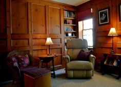 Knotty Pine, Totally Raised Panel Den With Pellet Stove Fireplace. #mainehomes info@mooersrealty.com 207.532.6573