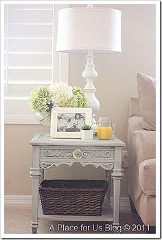 New {Seven Dollar }Side Table -  I love this side table. The fact that it was $7.00 and repurposed in 3 shades of grey makes it magical.