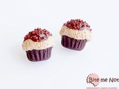 Polymer Clay Jewelry Tiny Cupcakes Post Earrings, Polymer Clay Sweets, Miniature Food, Mini Cupcakes Studs, Cute Jewelry, Kawaii Jewelry