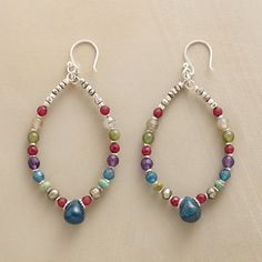 """PAGOSA HOOP EARRINGS--All the colors of the Rocky Mountain sky in beaded teardrops combining jade, amethyst, labradorite, pyrite and sterling. Sterling silver wires. Exclusive. 2-1/2""""L."""
