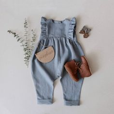 lovely custom order of Ruffle Romper in Agave linen 💙 if your favorite piece from me is not listed in the color you want, remember that you… Baby Girl Fashion, Toddler Fashion, Kids Fashion, Boho Fashion, Fashion Outfits, Little Girl Outfits, Kids Outfits, Cute Outfits, Baby Outfits